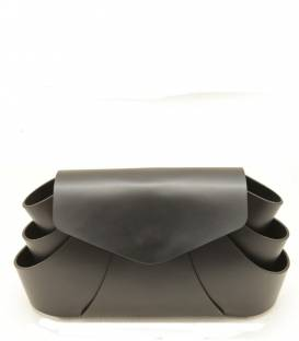 Black Flower Leather Clutch