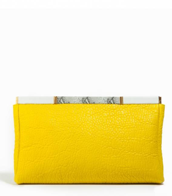 Big Leather Clutch Yellow
