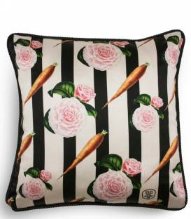 Carrots silk and velvet cushion