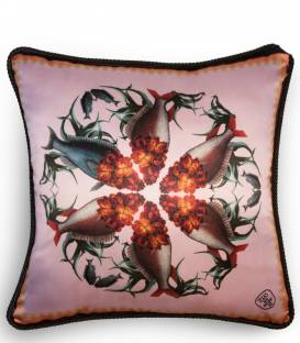 Wallflower fish detail silk and velvet cushion