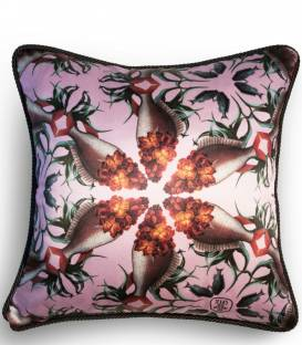 Wallflower fish print silk and velvet cushion