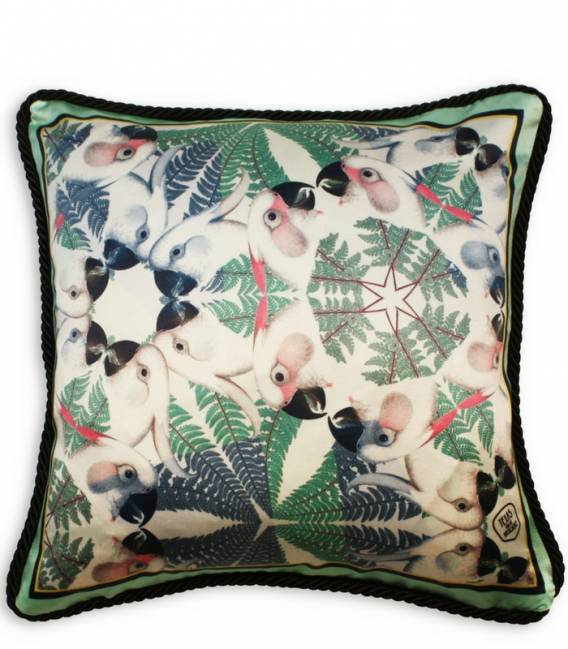 Green parrots silk and velvet cushion
