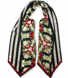 Black Cockatoos long silk scarf