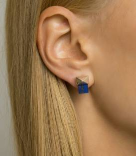 MILAN studs earrings silver – Lapis lazuli stone