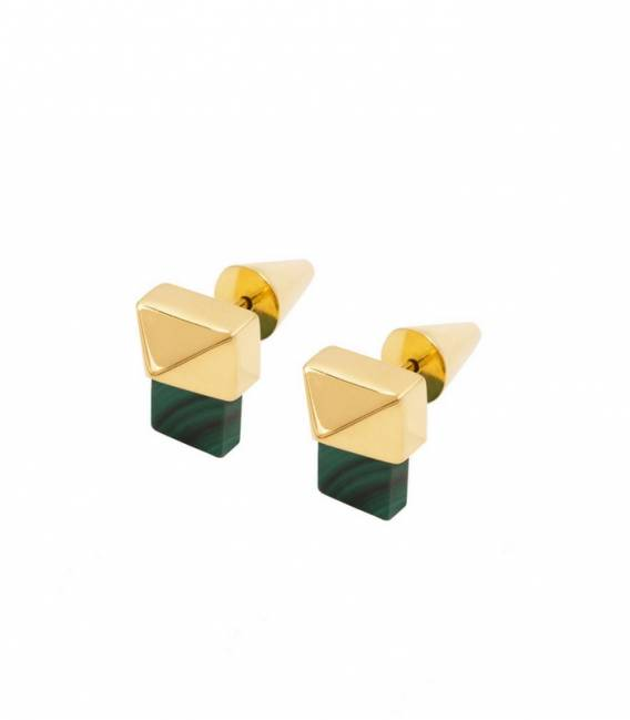 MILAN studs earrings gold – Malachite stone