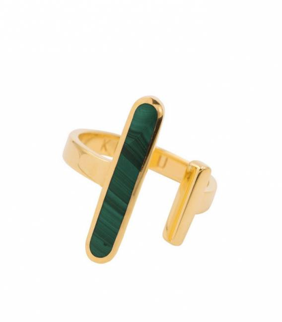 Open Ring gold – Malachite stone