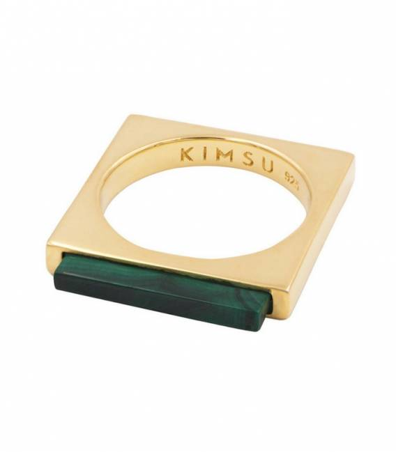 QUADRATO ring gold – Malachite stone