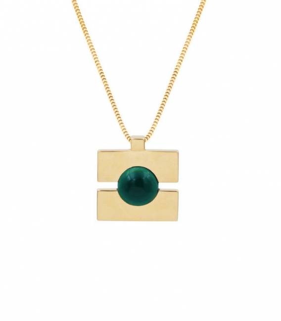 Collier QUADRATO or – Pierre Malachite