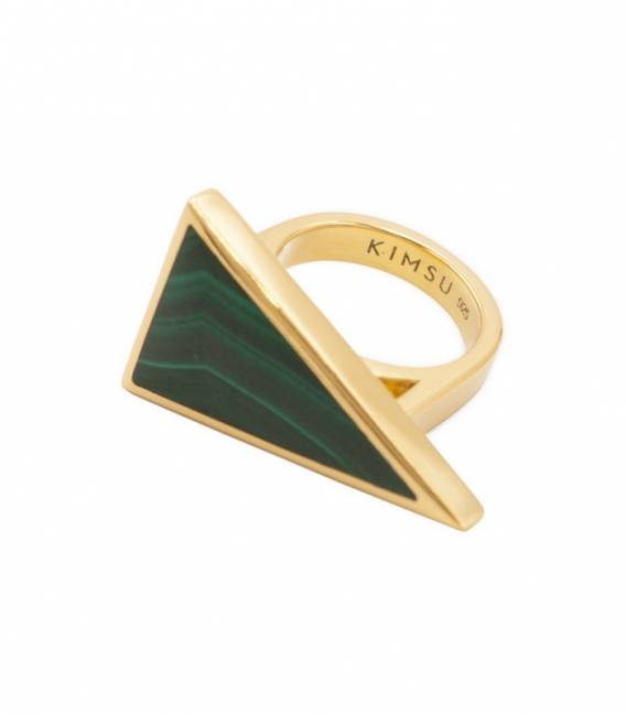 Bague TRIANGOLO or – Pierre Malachite