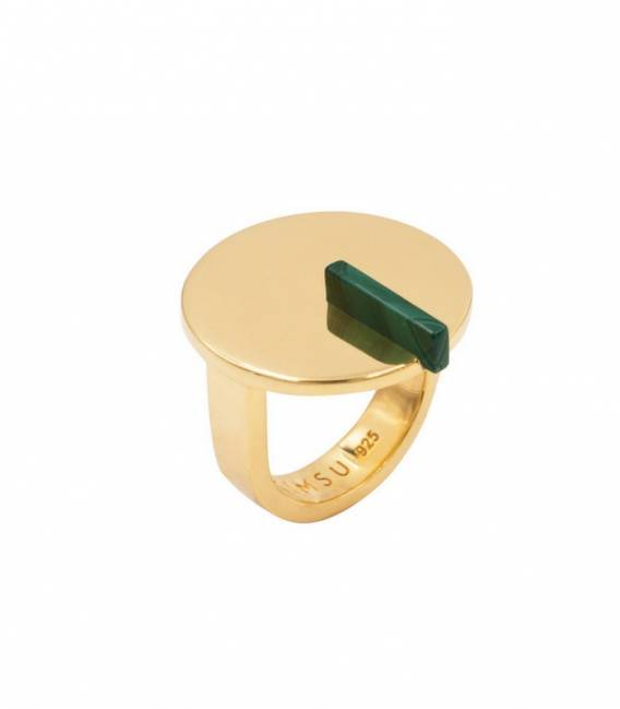 Bague ROTONDO or – Pierre Malachite