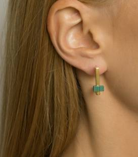 Boucles d'oreilles QUADRATO or – Pierre Malachite