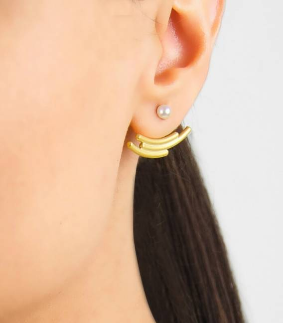 MOUJ earrings gold plated – White pearl