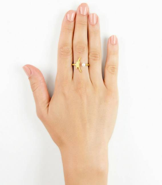 MOUJ ring gold plated – White pearl