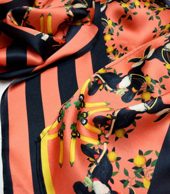 Burmese Toucan long silk scarf