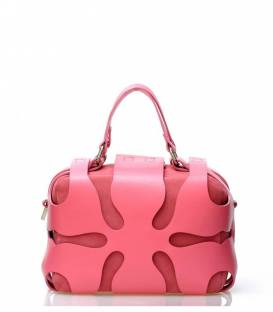 Big Pink Leather Clutch