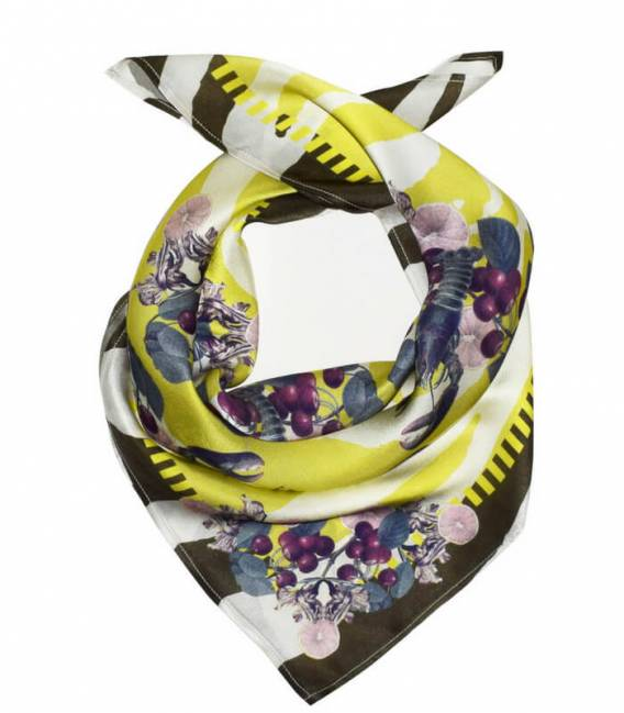 LOBSTER MUSTARD Silk scarf