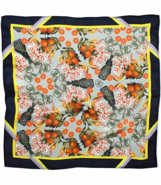 Foulard en soie PINEAPPLE & PRAWNS NAVY