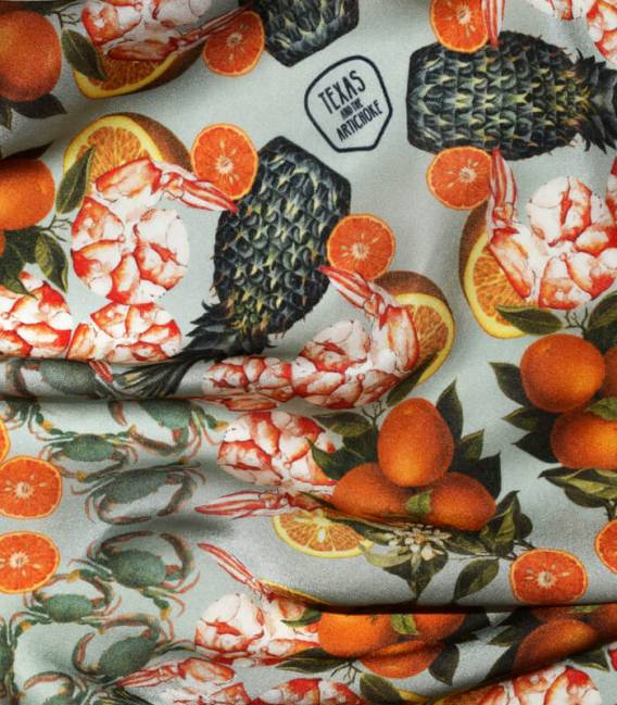 PINEAPPLE & PRAWNS NAVY Silk scarf