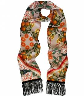 PINEAPPLE & PRAWN Skinny silk Scarf
