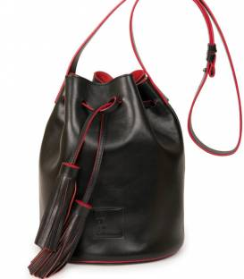 Black & Red Bucket Bag
