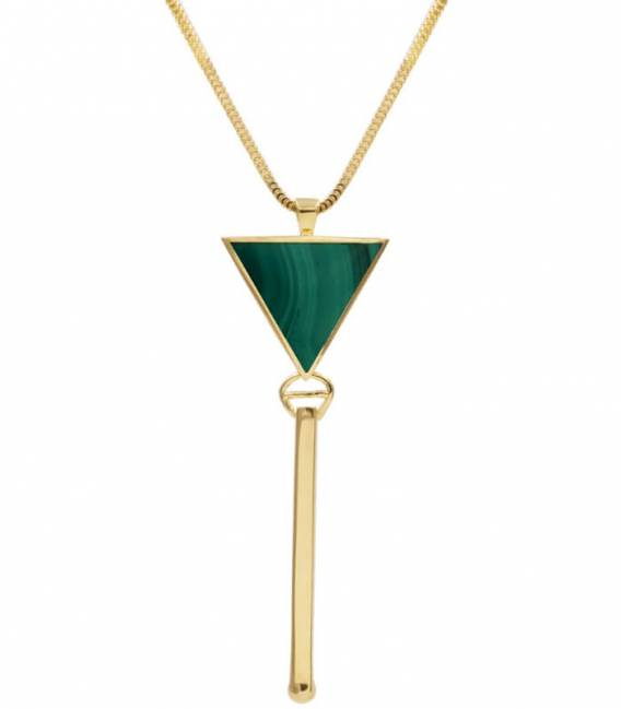 Collier TRIANGOLO or - Pierre Malachite