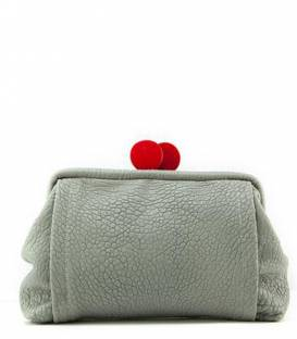 Big Grey Leather Clutch