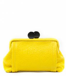 Yellow big leather Clutch