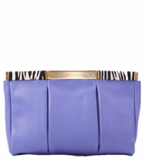 Purple & Zebra Leather Clutch