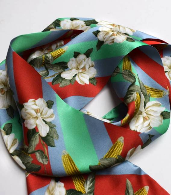 MAGNOLIA & CORN RED Skinny Silk Scarf