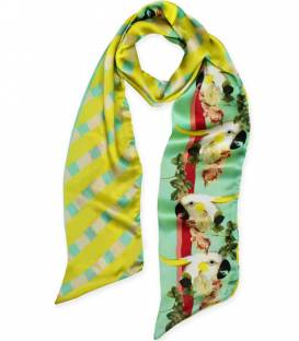 PARROTS & ROSES Skinny Silk Scarf
