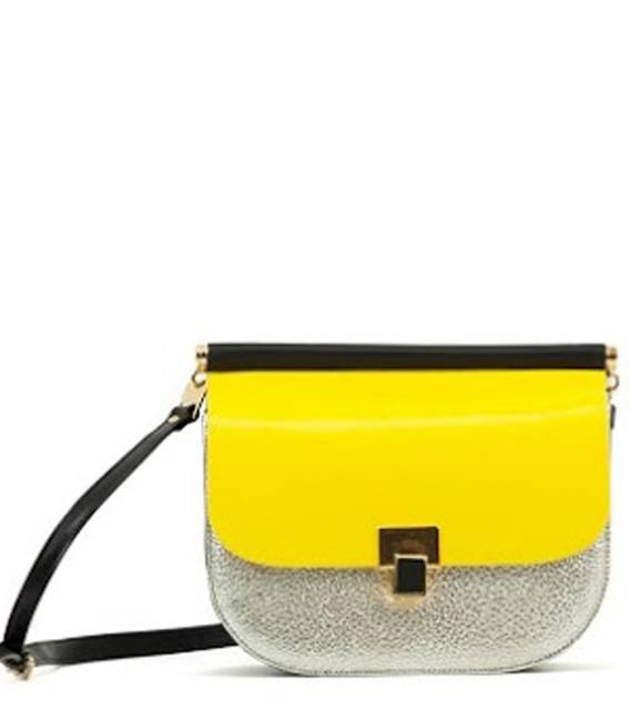 Leather Bag Yellow/Silver Black