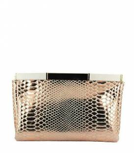 Pink Metal Leather Clutch