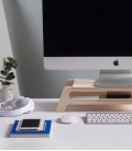 DEBRIDGE Desktop monitor stand in Birch wood