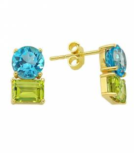 14 K Blue Topaz & Peridot Earrings