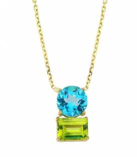14 K Blue Topaz & Peridot Necklace