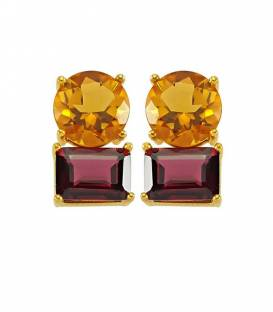 14K CITRINE & GARNET EARRINGS