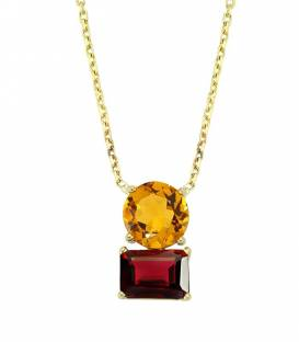Collier or 14 carats Citrine & Grenat