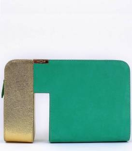 THE VOID clutch Bag Green & Gold