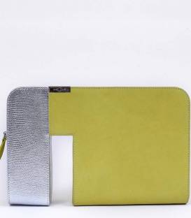 THE VOID clutch Bag Yellow & Silver