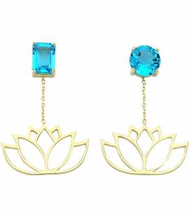 14K BLUE TOPAZ & LOTUS CHAIN EARRINGS