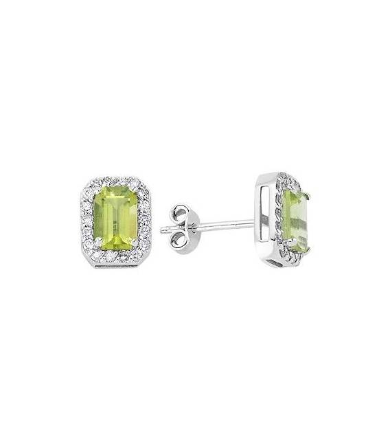 Diamond & Peridot Stud Earrings