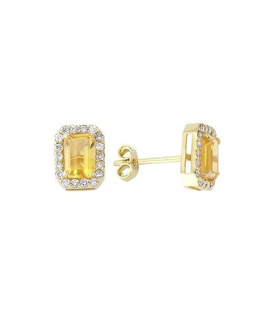 Diamond & Citrine Stud Earrings