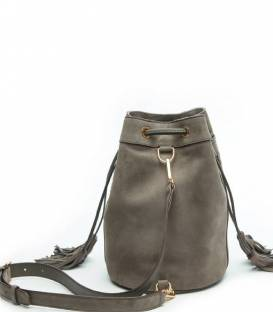ALFIE Grey suede Bucket bag