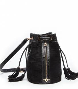 ALFIE Black snakeskin Bucket bag