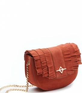 LUNA Orange suede Crossbody bag