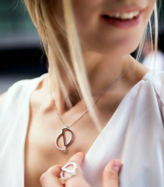 Circle Necklace Rhodium plated silver