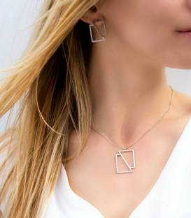 Square Necklace Rhodium plated silver