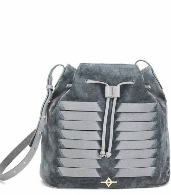 MUNI Grey Suede Bucket bag