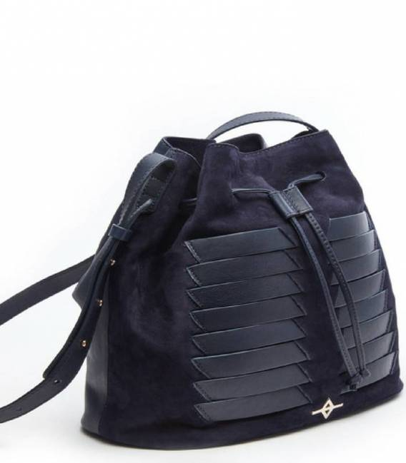 MUNI Navy Suede Bucket bag