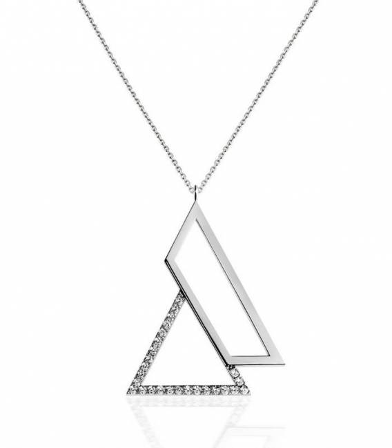 Triangle Necklace Rhodium plated silver